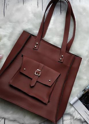 Классная бардовая марсала сумка шоппер