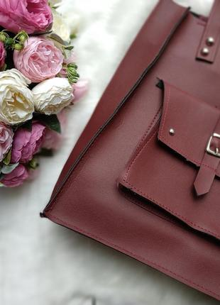 Классная бардовая марсала сумка шоппер2