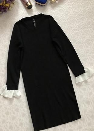 Красивое черное платье с белыми шифоновыми рукавчиками s - размер2