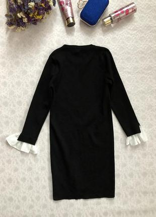 Красивое черное платье с белыми шифоновыми рукавчиками s - размер1