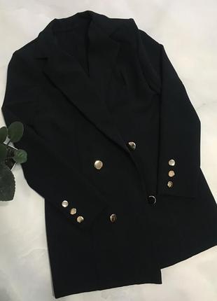 Пиджак удлиненный /пиджак-платье чёрный1