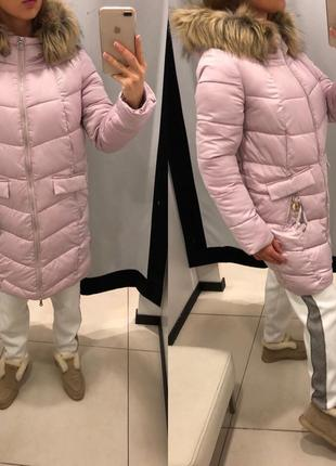 Нежно розовое сатиновое пальто с мехом mohito зимняя куртка на синтепоне есть размеры