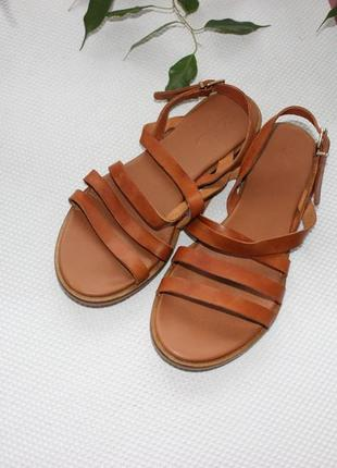 39 25,5см zign кожаные босоножки, сандалии на ремешке1 фото
