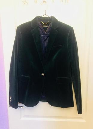 Фирменный темно зеленый блейзер, жакет, пиджак, вельвет, massimo dutti, массимо дутти, m-l3 фото