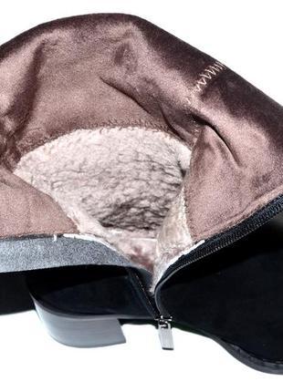 Новые сапоги женские зимние черные замшевые molared натуральный мех цегейка3