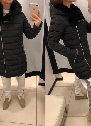 Чёрное пальто с косой молнией mohito куртка на синтепоне еврозима есть размеры1