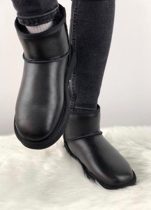 Женские зимние угги/ сапоги с натуральным мехом ugg classic mini 2 (black leather)