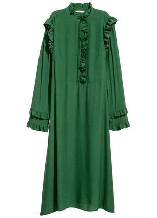 Платье с оборками из вискозы h&m