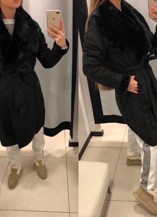 Дубленка под замш mohito велюровое пальто на меху есть размеры