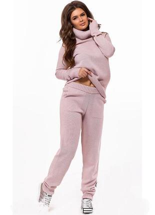 🆕костюм зимний вязанный теплый пудра розовый