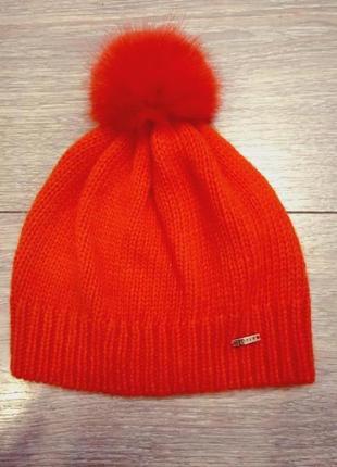Яркая мягкая морковно-оранжевая шапочка mohito с натуральным помпоном!!! новая!