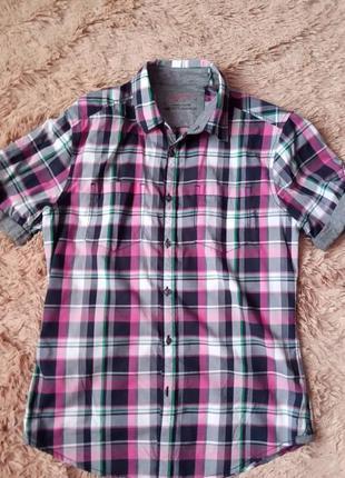 Фирменная рубашка в клетку с мягкими вставками