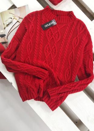 Роскошный оверсайз свитер в косы с горлышком boohoo1