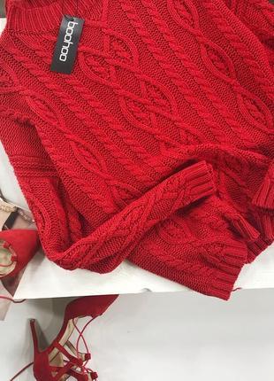 Роскошный оверсайз свитер в косы с горлышком boohoo3