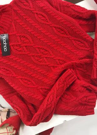 Роскошный оверсайз свитер в косы с горлышком boohoo5