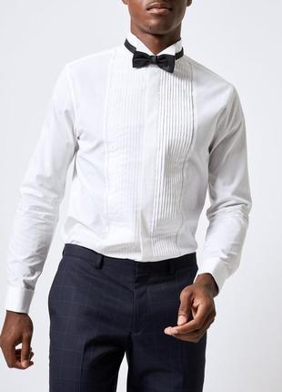 Фрачная рубашка нарядная праздничная сорочка под бабочку и запонки george