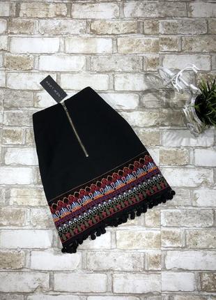 Актуальная юбка с помпонами и вышивкой, классическая с орнаментом5