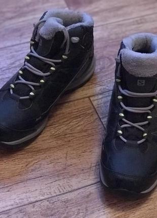 Зимние спортивные кожаные трекинговые ботинки salomon