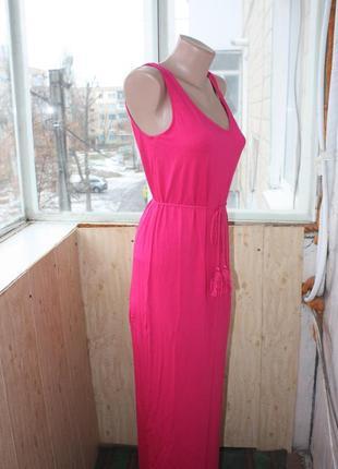Сарафан длинный цвета фуксия ярко-розовый3 фото