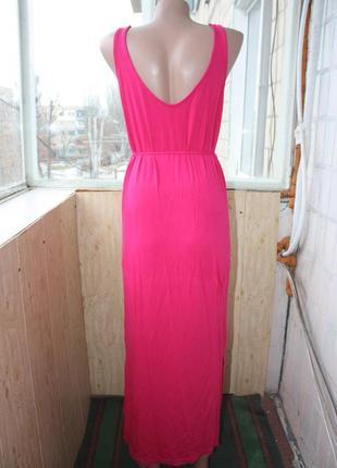Сарафан длинный цвета фуксия ярко-розовый4 фото