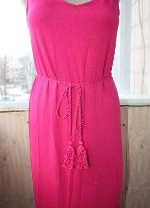 Сарафан длинный цвета фуксия ярко-розовый2 фото