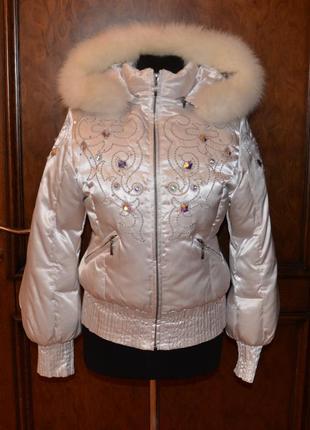 Куртка на пуху шикарная с мехом лисы р.s