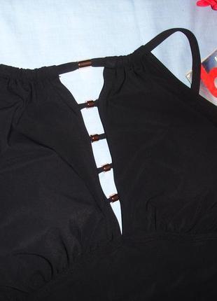 Купальник сдельный монокини черный размер 46-48 / 14 чашка а в с крутой кроп-топ прорези2 фото