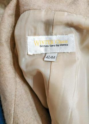 Шерстяное пальто бежевого цвета5