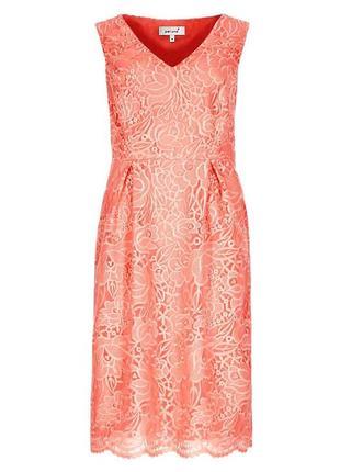 Шикарное кружевное платье кораллового цвета от per una, uk 16, наш 50