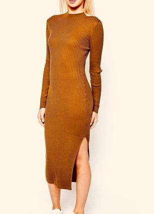 Красивое платье миди прямого кроя в рубчик от mango