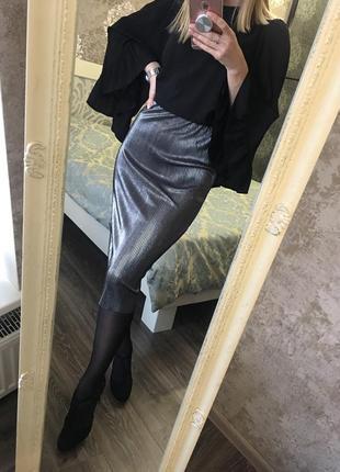 Мерцающая плиссированная юбка