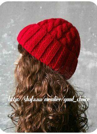 Спеццена до нг! хлопковая шапка с отворотом/косы/красного цвета1 фото