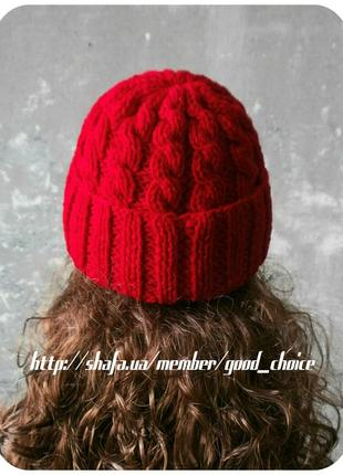 Спеццена до нг! хлопковая шапка с отворотом/косы/красного цвета2 фото
