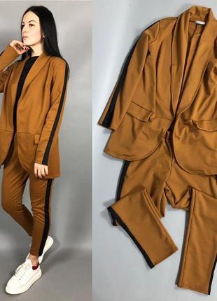 Костюм с лампасами оверсайз пиджак брюки горчица2 фото