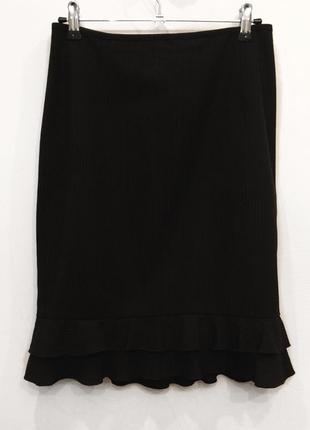 Классическая черная юбка в полоску с рюшами by shelli segal
