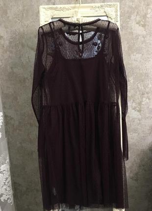 Платье из фатина с вышивкой4 фото