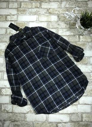 Хлопковая рубашка стильная в клетку оверсайз с карманом на пуговицах, байковая4