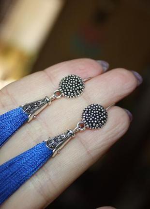 Серьги серёжки кисти кисточки пышные синие электрик с оригинальной швензой2