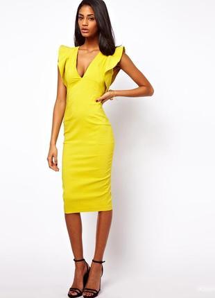 Шикарное платье футляр с валанами1
