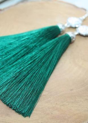 Серьги серёжки кисти кисточки пышные зелёные со сверкающим камнем большой выбор!4