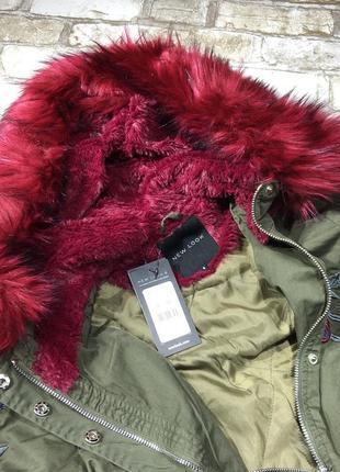 Нереальная парка демисезонная с мехом и вышивкой, куртка, пальто хаки asos new look4 фото