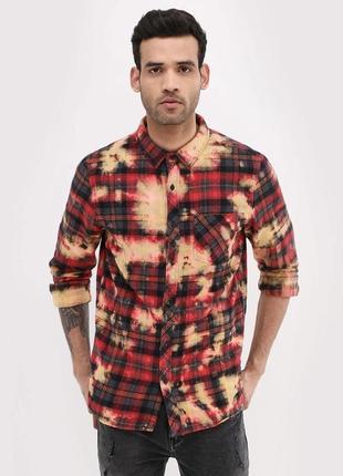 Очень тёплая стильная мужская рубашка в клетку, байковая хлопковая new look