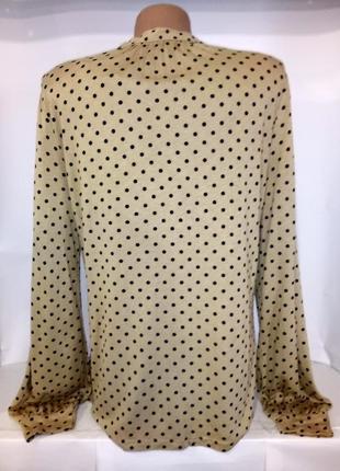 Бежевая вискозная рубашка блуза в горошек m&co uk 14 / 42 /.l3