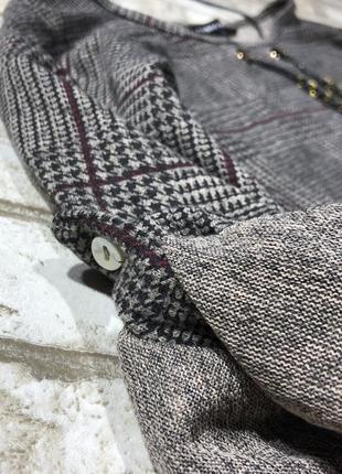 Стильный тёплый реглан оверсайз с украшением, джемпер удлиненный в клетку new look4