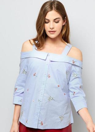 Актуальная блуза с открытыми плечами и вышивкой, хлопковая рубашка яркая new look1