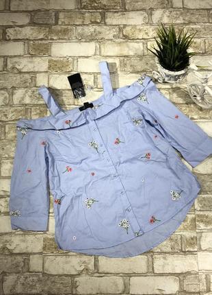Актуальная блуза с открытыми плечами и вышивкой, хлопковая рубашка яркая new look3