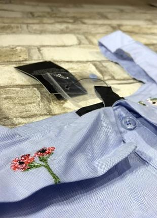 Актуальная блуза с открытыми плечами и вышивкой, хлопковая рубашка яркая new look5