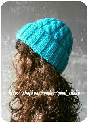 Спеццена до нг! хлопковая шапка с отворотом/косы/нежно-ментолового цвета