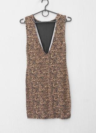 Летнее облегающее коктейльное сексуальное тигровое платье с открытой спиной из вискозы2