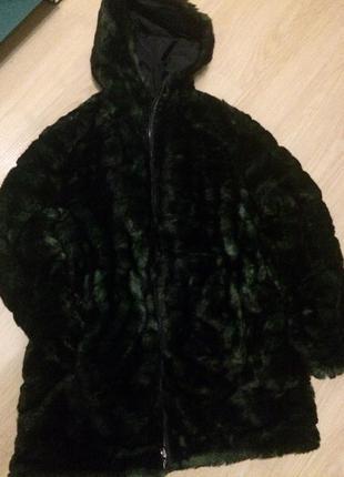 Итальянская   брендовая двухсторонняя куртка -шубка  нюанс